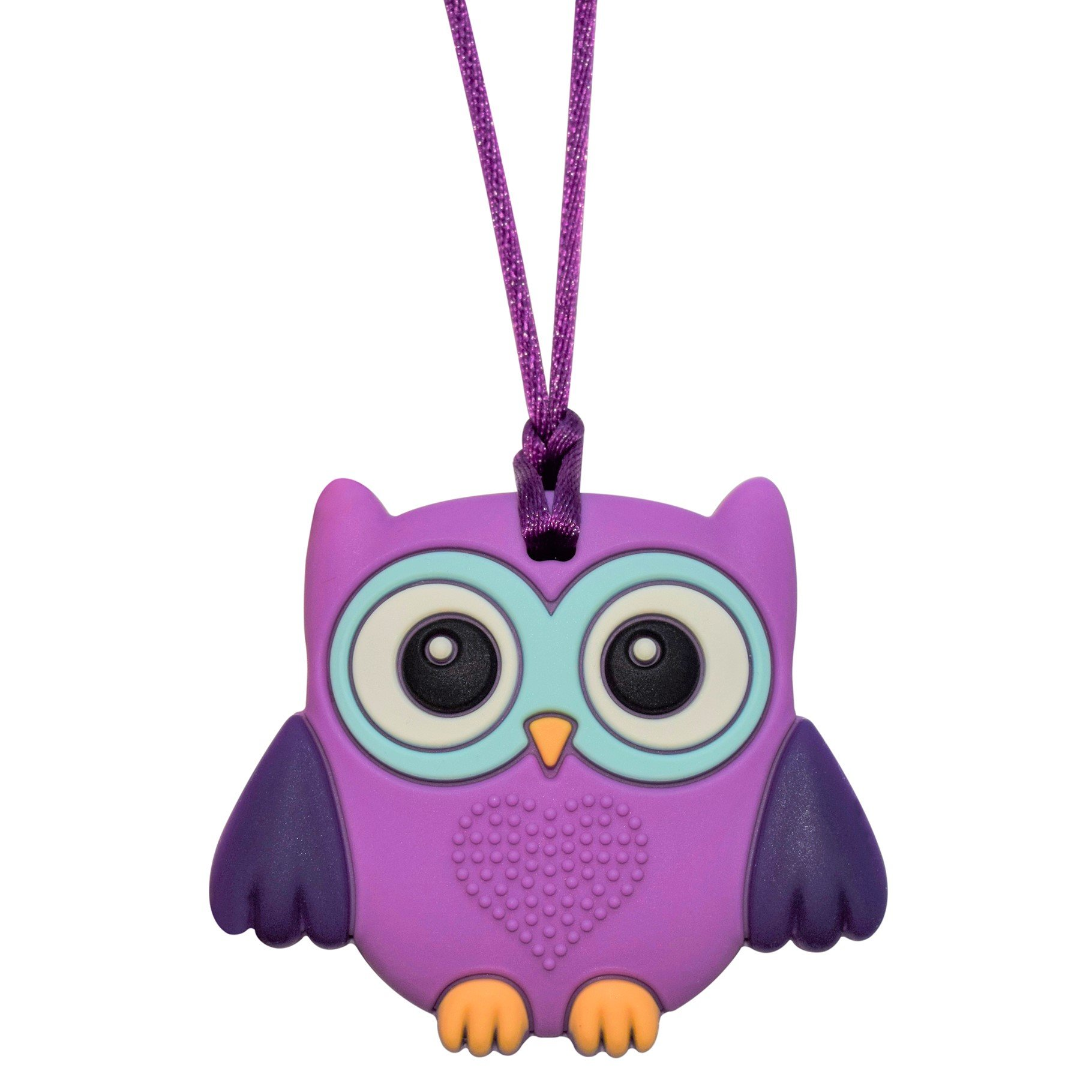 Sensory Oral Motor Aide Chewelry Necklace - Chewy Jewelry for Sensory-Focused Kids with Autism or Special Needs - Calms Kids and Reduces Biting/Chewing/Fidgeting - Owl (Purple Owlet)