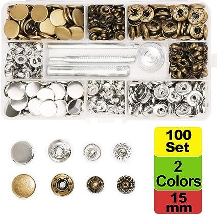 SUNTATOP 100 - Cierres metálicos Ajustables de 15 mm, 2 Colores, Botones de presión de Metal con 4 Herramientas de fijación para Coser y Hacer ...