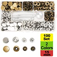SUNTATOP 100 Set Metalen Snap Fasteners, 15mm 2 Kleuren Metalen Snap Knoppen Drukknopen met 4 Fixing Tools voor Kleding…