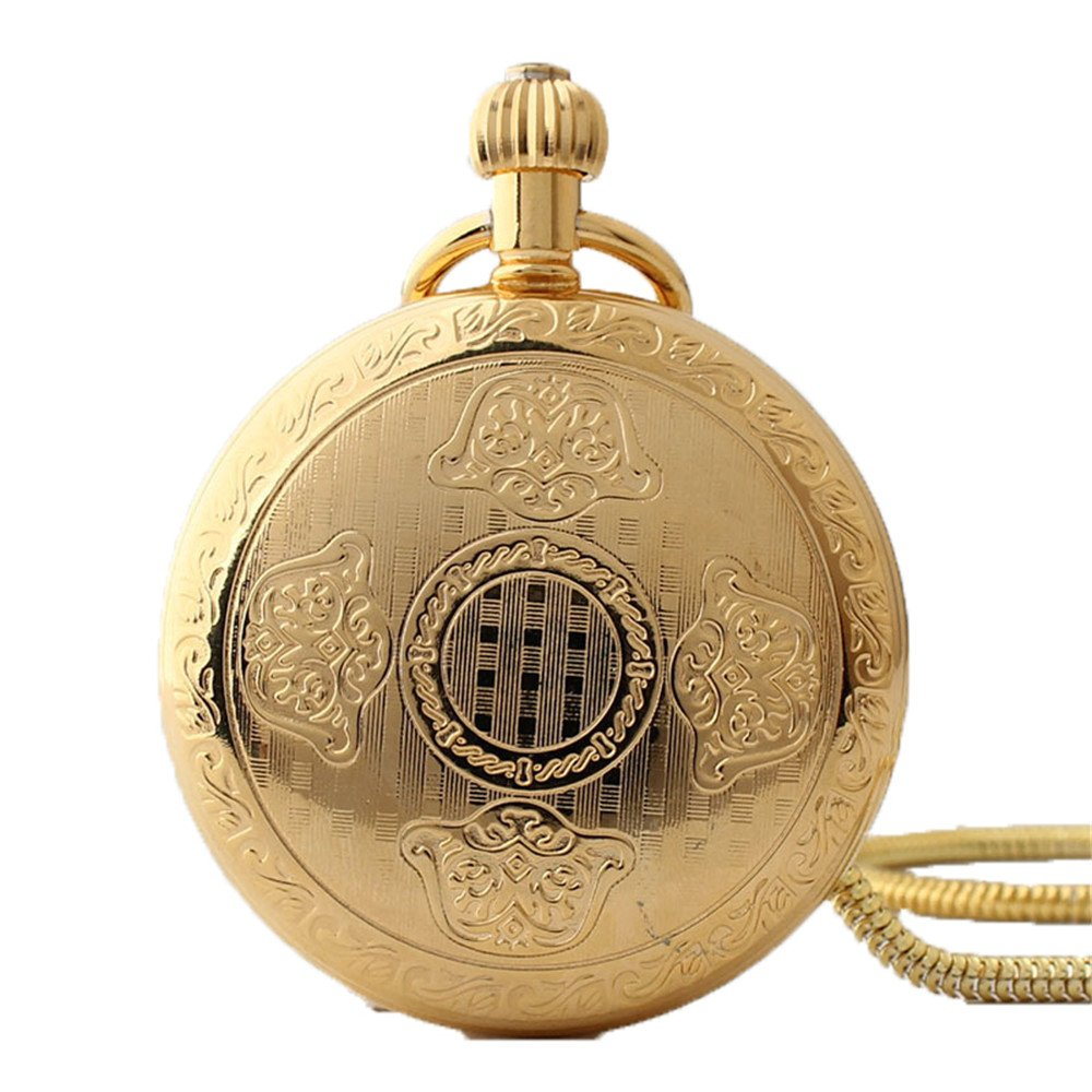 Zxcvlina Classic Smooth Men Women Mechanical Pocket Watch Golden Retro Carved Pocket Watch with Chain Suitable for Gift Giving