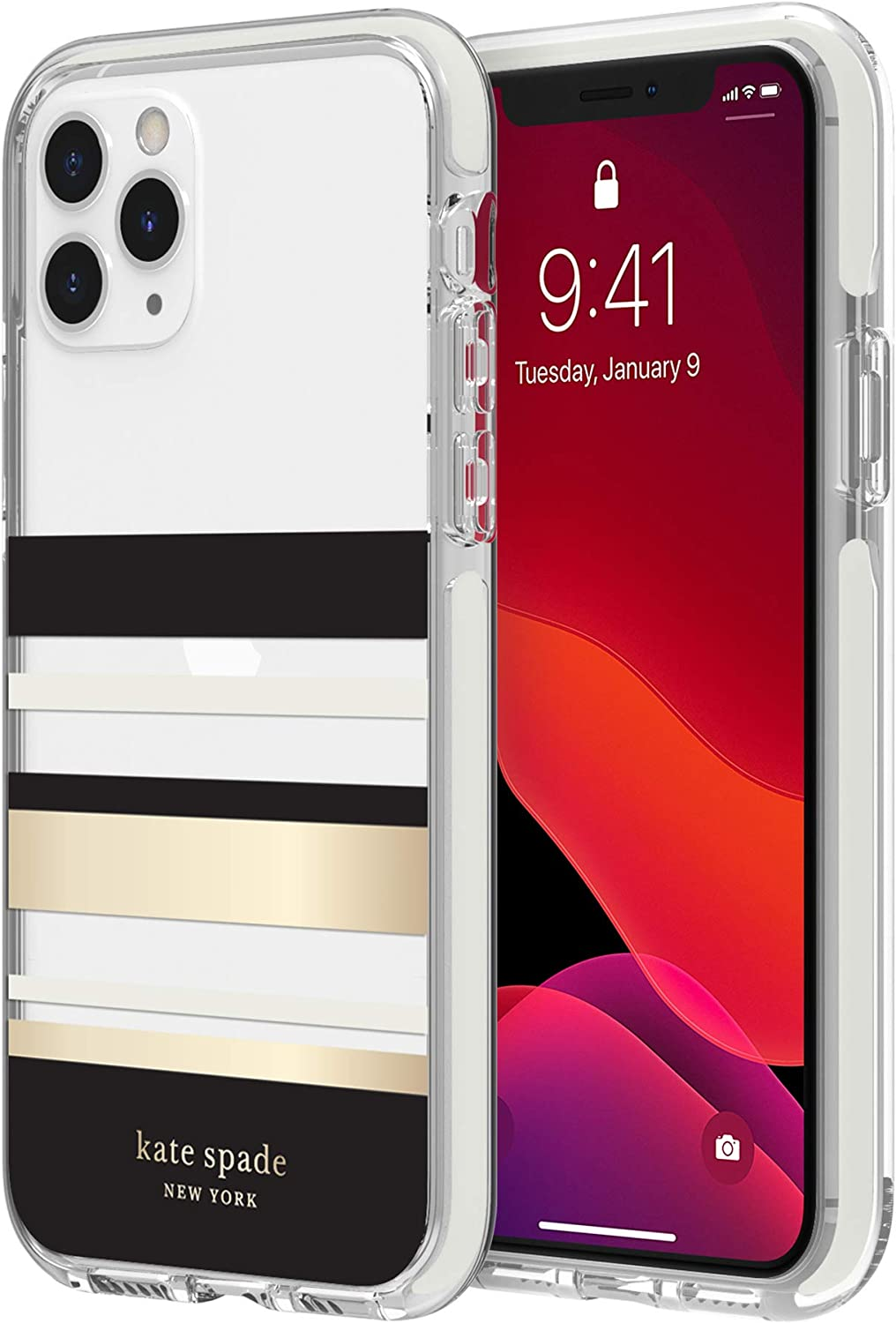 kate spade new york Park Stripe Case for iPhone 11 Pro - Defensive Hardshell with Cream Bumper