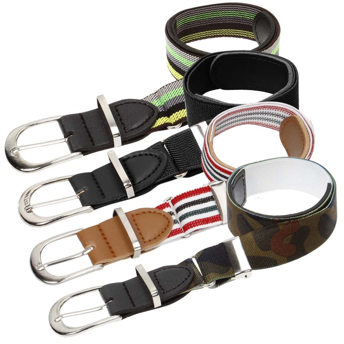 Bundle Monster 4pc Adjustable Elastic Band Boys Fashion Stretch Belts - Set 3, Trendsetter