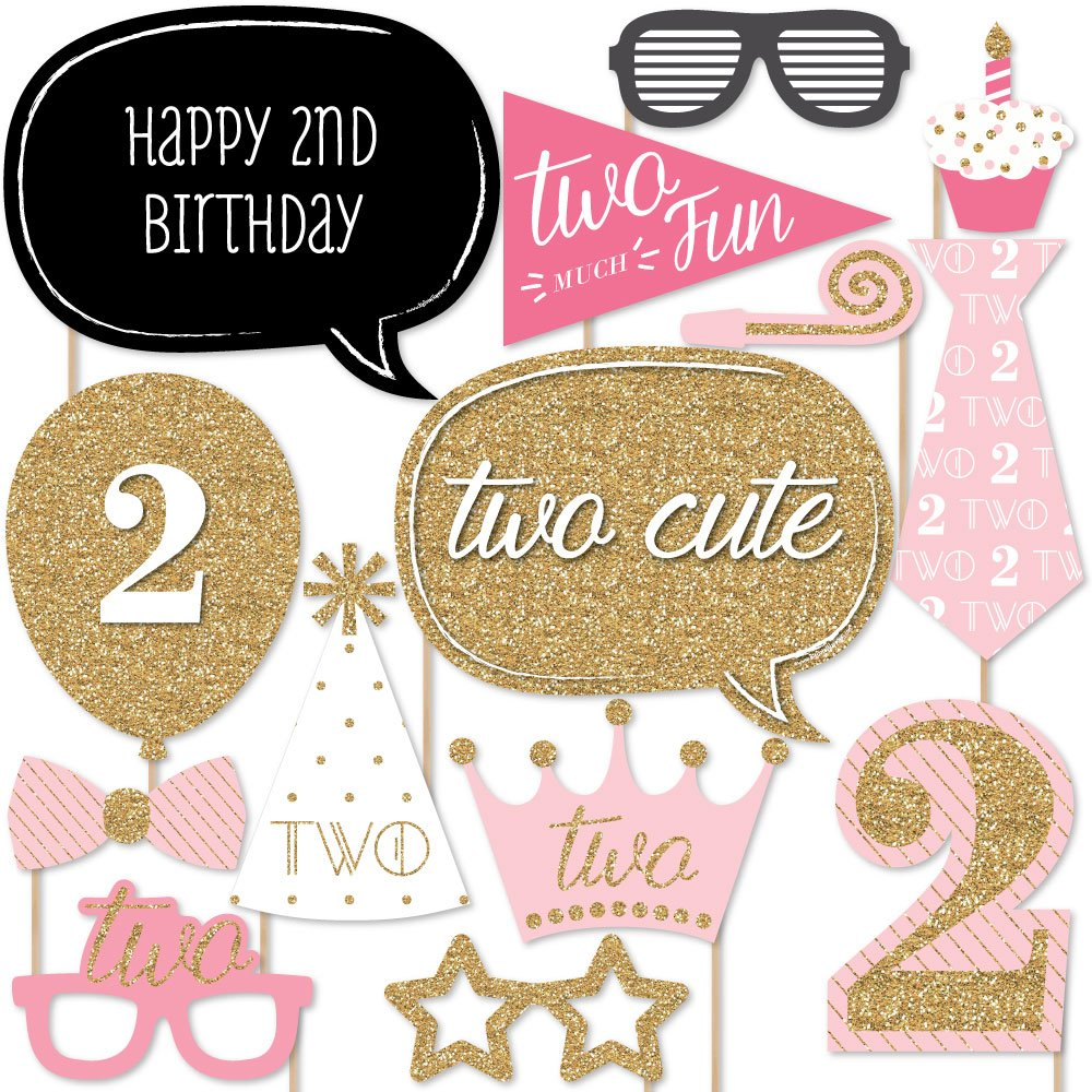 Big Dot of Happiness Two Much Fun - Girl - 2nd Birthday Party Photo Booth Props Kit - 20 Count