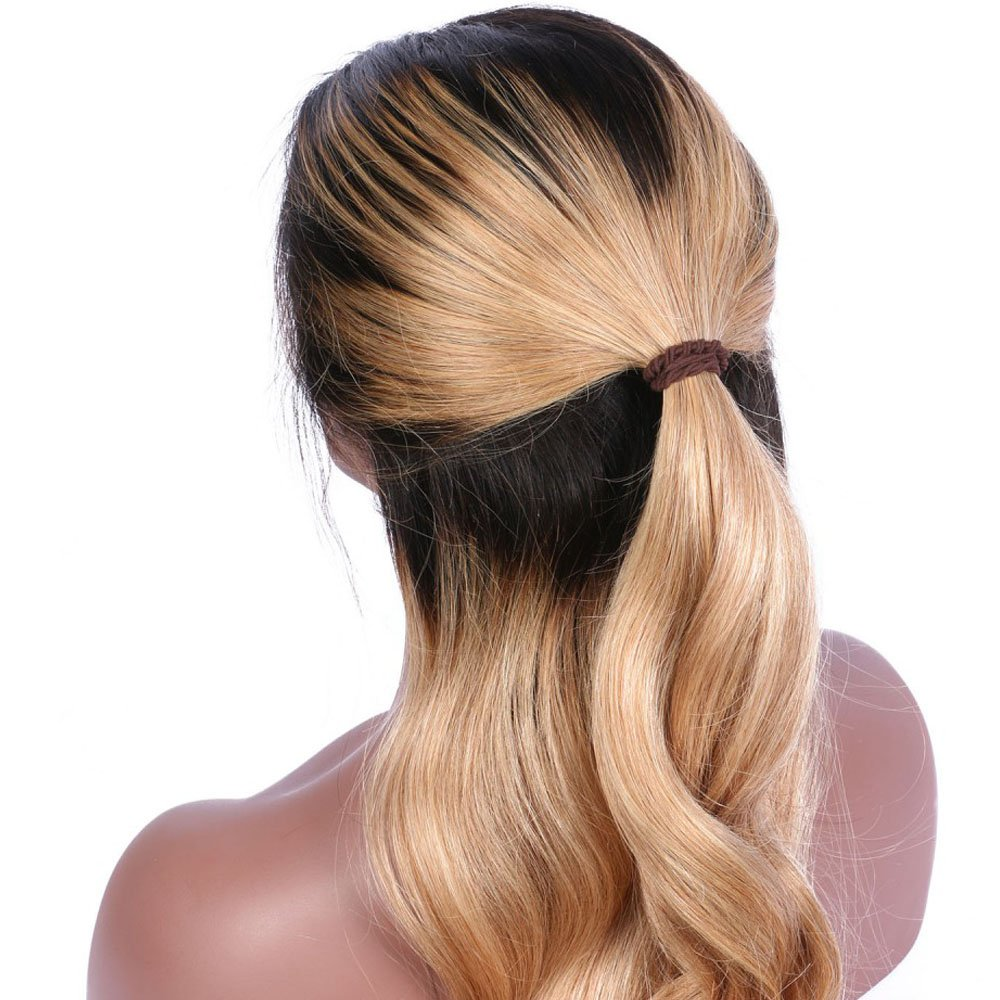 Wicca Brazilian human hair Ombre blonde Full lace wigs Dark root Loose wave Lace front wig Bleached knot Pre plucked hairline 150%density (18inch, 1b/27 lace front wig) by Wicca (Image #4)