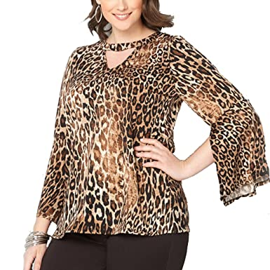 976e43355311ae Ccassie Womens Sexy Leopard Print Bell Sleeve Loose Casual Blouse Top Shirt