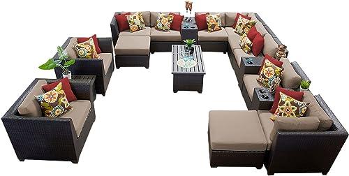 TK Classics 17 Piece Barbados-17A Outdoor Wicker Patio Furniture Set