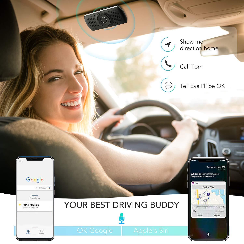 Musique Slot Carte TF Allumage Automatique,Enceinte Voiture Brise-Soleil IOS Siri/&Assistant Google-Noir Kit Mains Libres pour Voiture Bluetooth 4.2 Haut-Parleur Micro Int/égr/é avec Clip Support du GPS