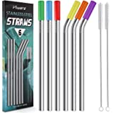 """Reusable Smoothie Straws and Milkshake Straws with Silicone Tips, 9mm/0.35"""" Stainless Steel Wide Straws, Hiware 6 Pack…"""
