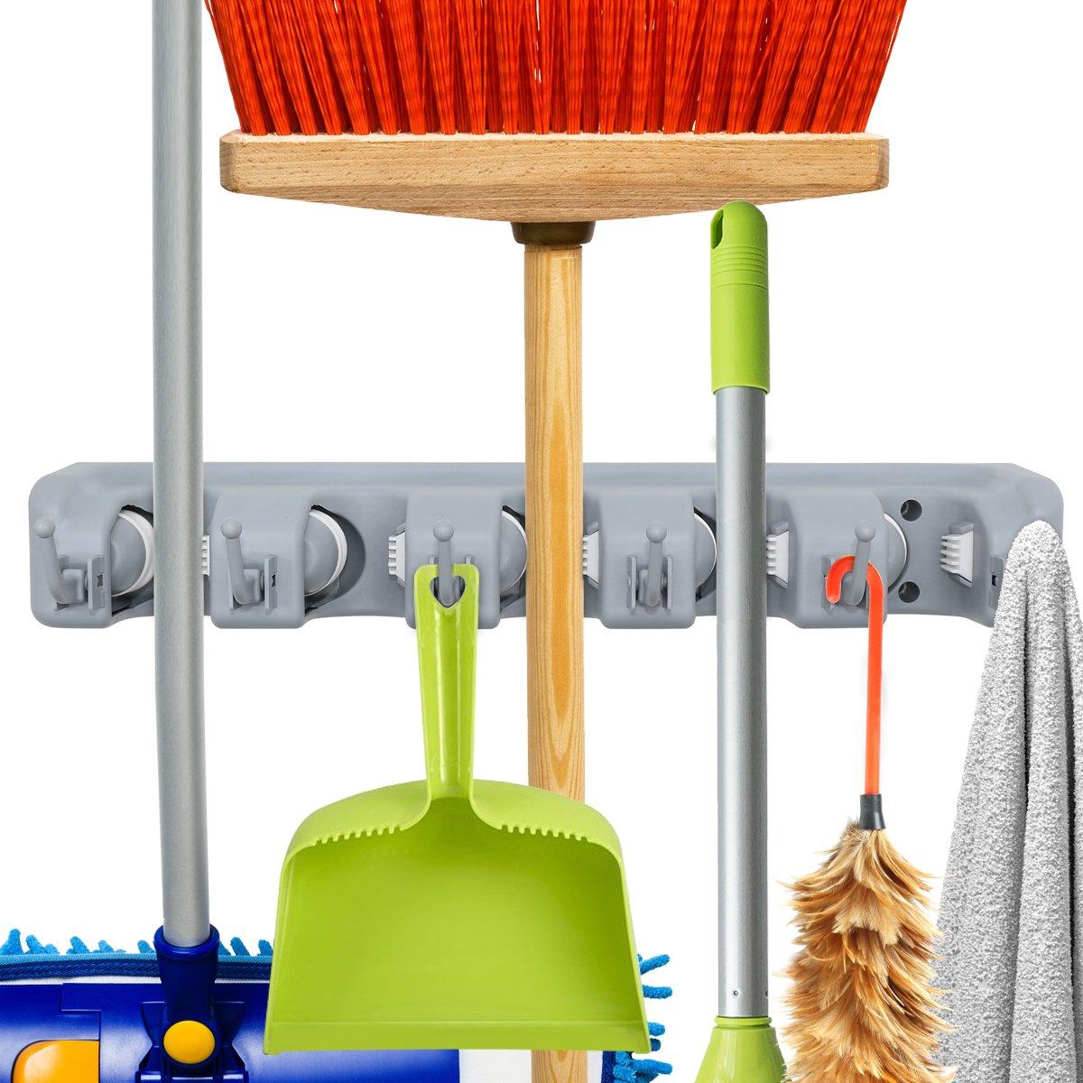 Cheersbang - Organizador de perchero de pared con 5 posiciones, 6 ganchos, ideal para baño con espacio limitado, organiza herramientas de limpieza: ...