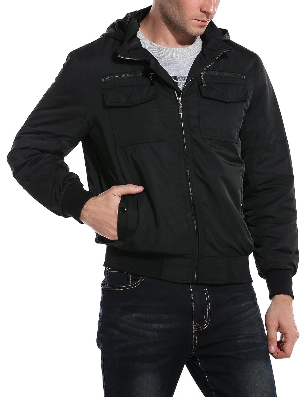775ddba9c COOFANDY Men's Casual Zip-Front Bomber Jackets Solid Windbreaker Pullover  Coat
