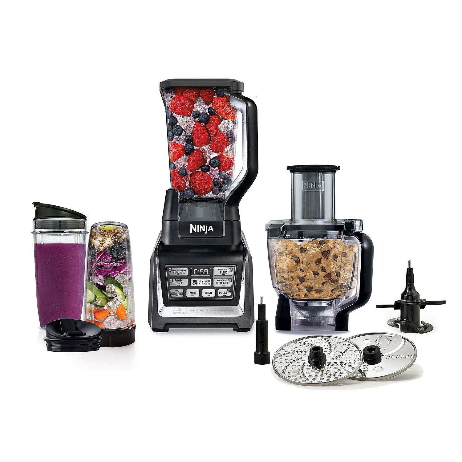 Nutri Ninja Mega 1200 Watts Kitchen System, Blending and Food Processing, 1 Base 2 Functions Auto-iQ Technology