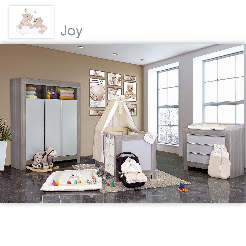Babyzimmer Felix in akaziengrau 10 tlg. mit 3 türigem Kl. + Set Joy beige