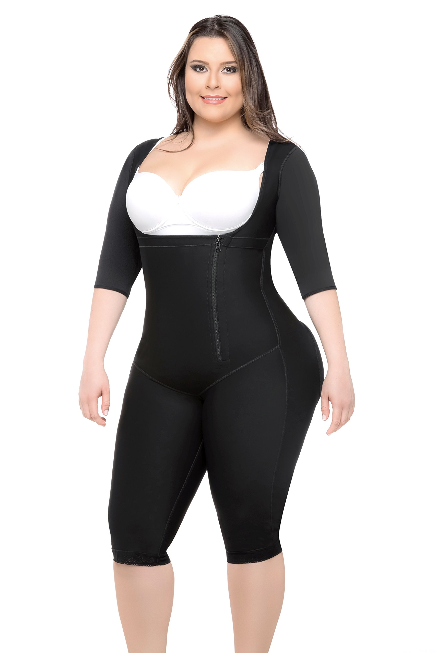 Fajas Colombianas Full Body Shaper With Sleeves & Butt Lifter Knee Length Style by All About Shapewear