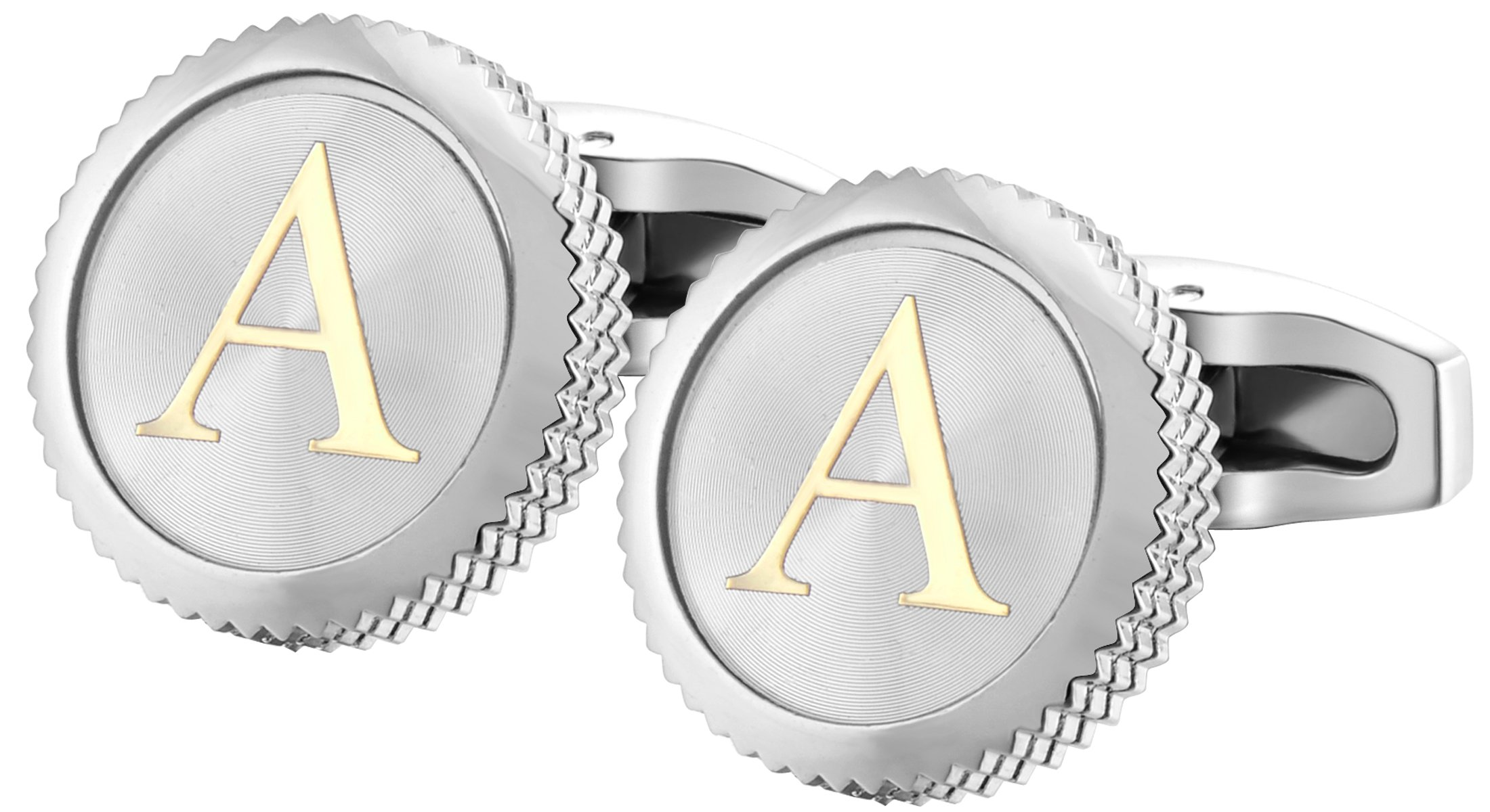 GGemony Men's Shirt Cufflinks 2PCS,Premium Quality Personalized Alphabet Letter A-Z (A-1Pt/)