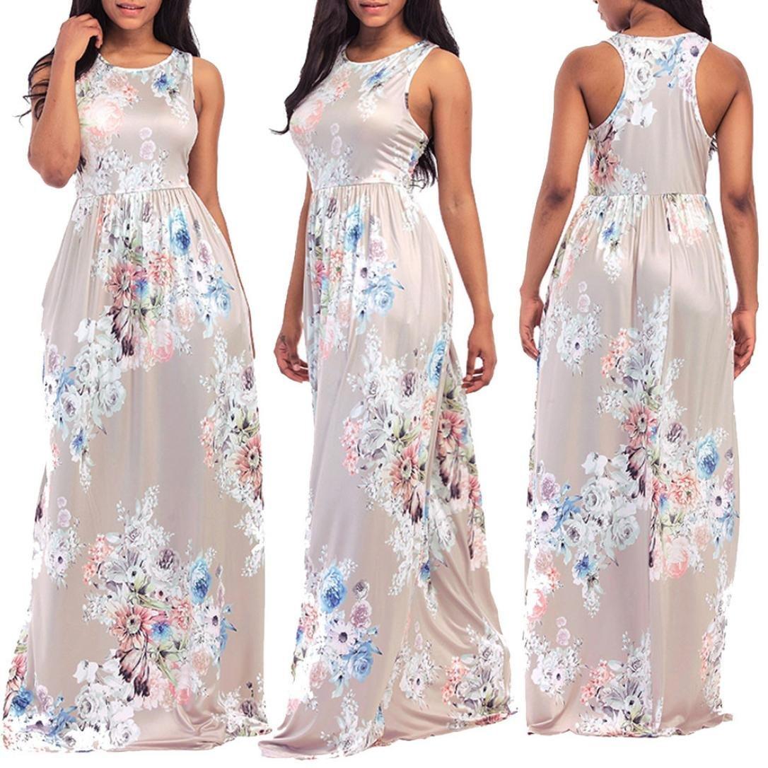 d13a8ed6a96f Collar: Round neck -- Sleeve length:Sleeve -- Silhouette:Loose -- Dress  Length:Floor-length. Summer bohemian floral print sling sleeveless flowy tank  long ...
