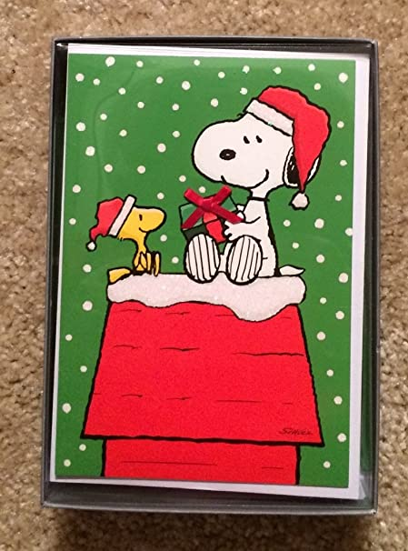snoopy and woodstock gift giving peanuts boxed 16 christmas cards