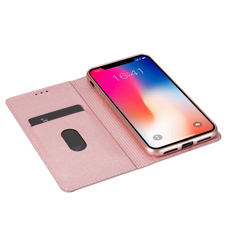 Handyh/ülle Flip Case Glitzer Bling H/ülle Leder Tasche Schutzh/ülle Handytasche mit ein Kartenfach Klapph/ülle f/ür iPhone X//iPhone XS,Blau Hancda H/ülle f/ür iPhone X//iPhone XS