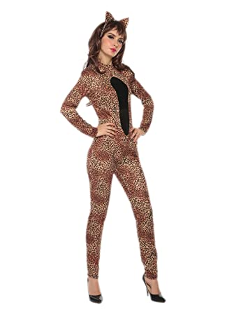 ab77e8b9ee Leopard Costume Women - Cutie Adult Leopard Cat Jumpsuit Sexy Halloween  Animal Costume