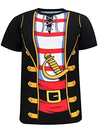 Funny World Men's Pirate Costume T-Shirts (M, Black)