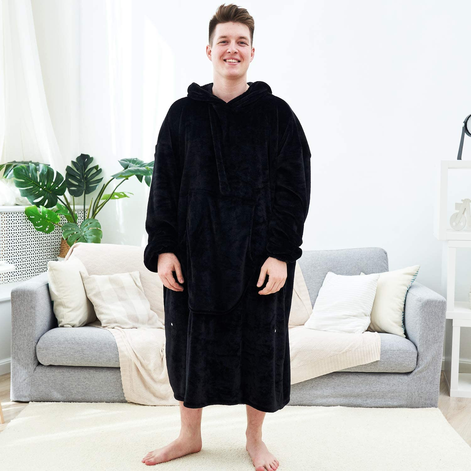 Fomoom Blanket Hoodie, Oversized Sweatshirt Wearable Fleece Flannel Blanket