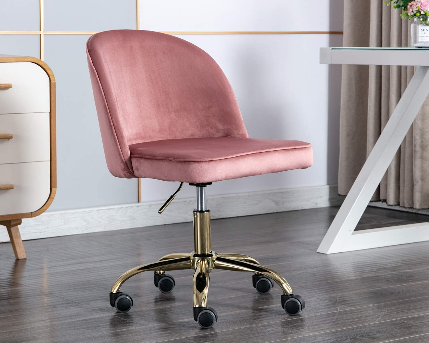Chairus Tufted Task Chair, Reception Chair with Height Adjustment (Armless Design for Small Homes and Offices), Rose Pink