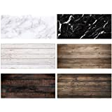 Allenjoy 3pcs 34.4x15.7in Double Sided Photography Background 2 in 1 Black White Wood Marble Texture Pattern Waterproof Paper