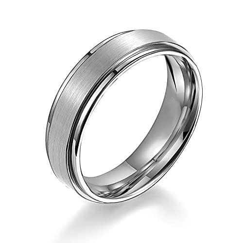 6mm Matte Step Edge Light Weight Titanium Ring Highly Durable