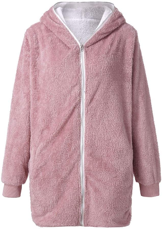 NEARTIME Womens Solid Oversized Zip Down Hooded Fluffy Coat Cardigans Outwear Pockets