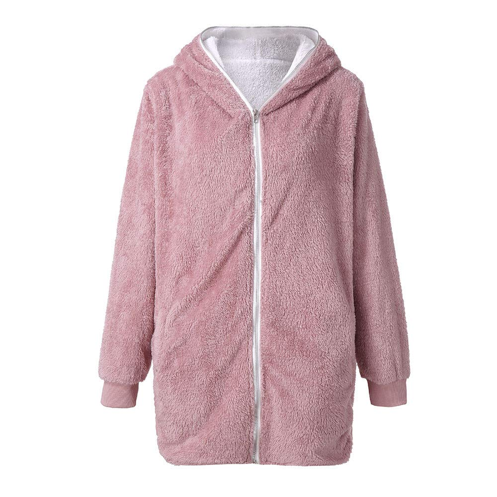 aihihe Plus Size Winter Coats for Women Warm Shaggy Lining Solid Oversized Fluffy Hooded Coats Jackets Outerwear Parka Pink by aihihe Outerwear