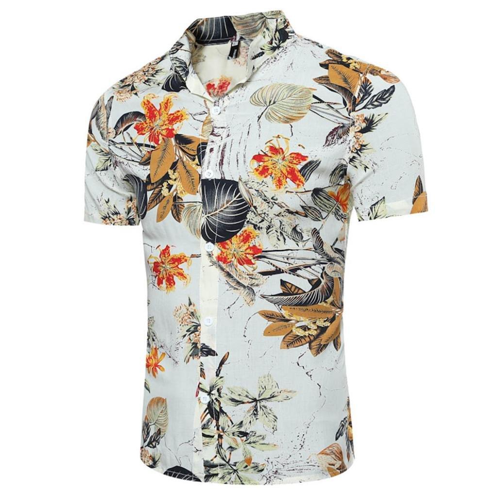 5d081bddccb7 Bakelin Men Summer Fashion Casual Print Slim Fit Short Sleeve Shirt Blouse T  shirt Tops M ~ XXXL Streetwear (White)