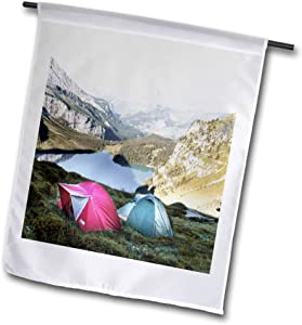 3dRose 2 Travel – Camping, Hiking, Biking Activities - Tent Camping by The Lake Surrounded by Mountains - 12 x 18 inch Garden Flag (fl_311414_1)