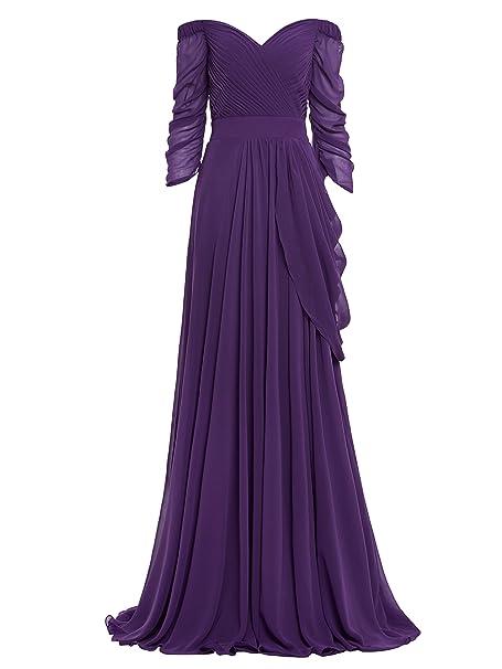 Vestido Largo de Gasa con Hombros Descubiertos Manga 3/4 para Mujer Vestido A-