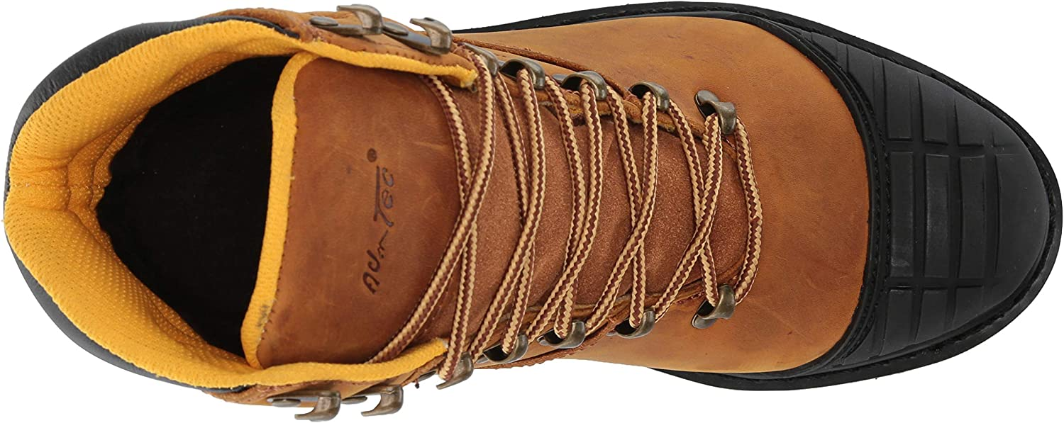 """Adtec Men's 7"""" Work Hiker Boots with Steel Toe, Slip Resistant, Leather, Goodyear Welt Construction Boot Light Brown"""