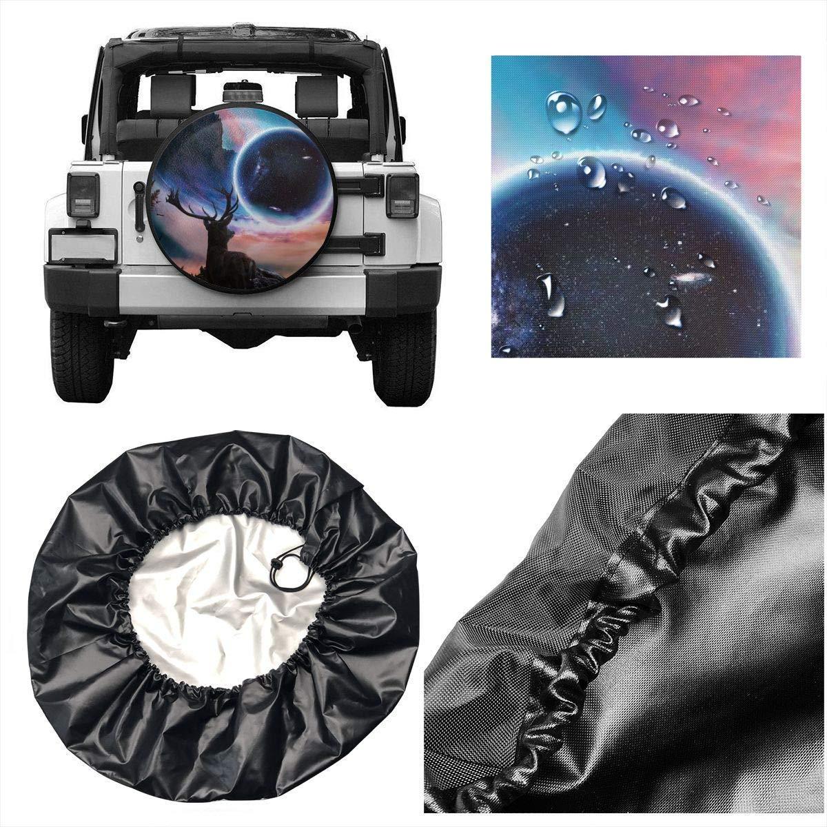 Belleeer Cubierta de Rueda de Repuesto,Deer Fantastic World Potable Polyester Universal Spare Wheel Tire Cover Wheel Covers for Jeep Trailer RV SUV Truck Camper Travel Trailer Accessories