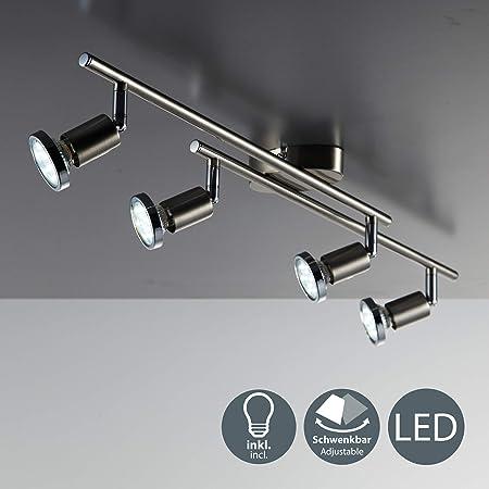 Lámpara de techo LED I Focos giratorios y orientable incl. 4x3W bombillas GU10 250lm I Color níquel mate I Metal I Luz blanco cálido 3000K IP20