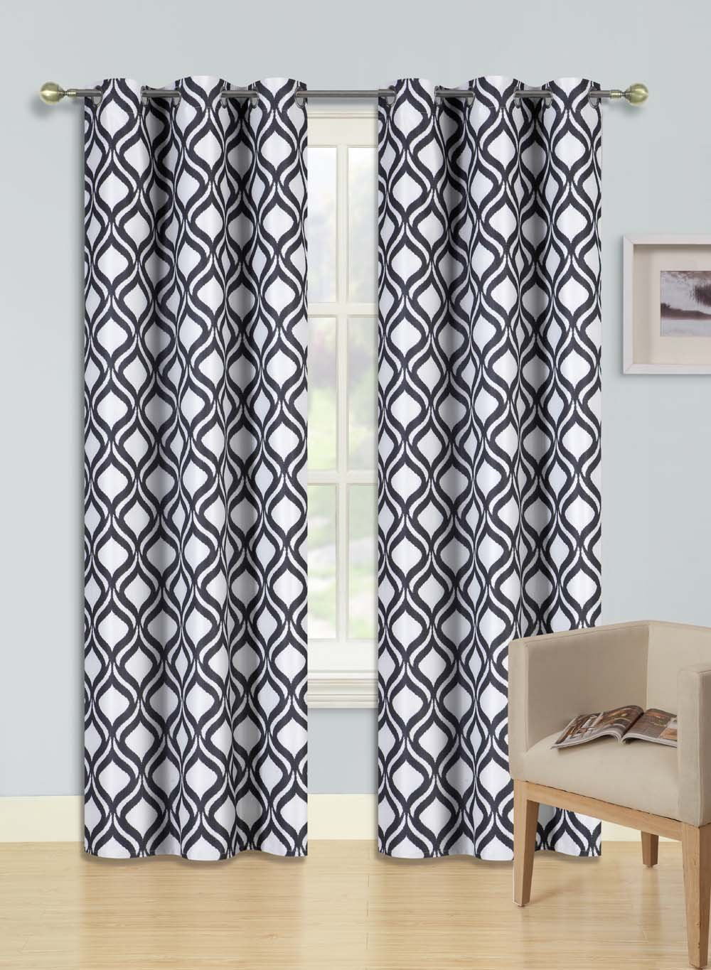 BLACKOUT HEAVY THICK WINDOW CURTAIN DRAPES SILVER GROMMETS BLACK SWIRLS