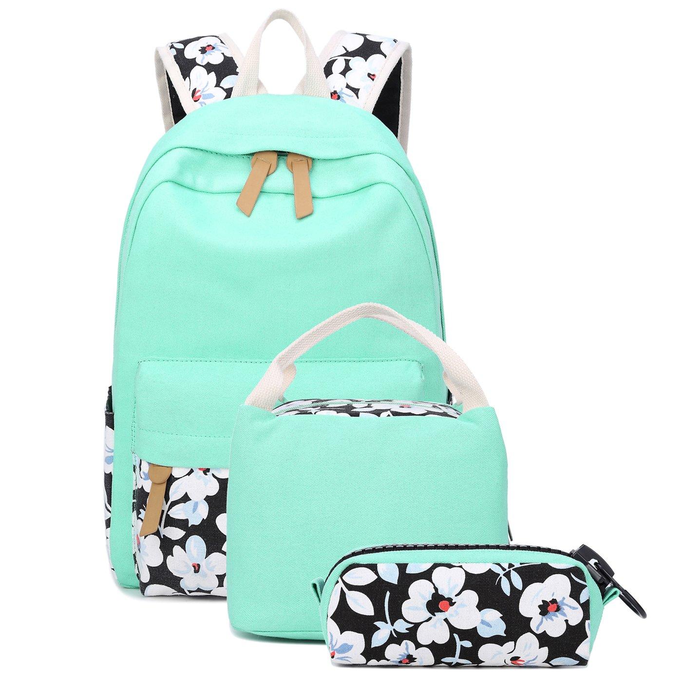 77b7d02b7d School Backpacks for Teen Girls Lightweight Canvas Backpack Bookbags Set  (Light Green-1)