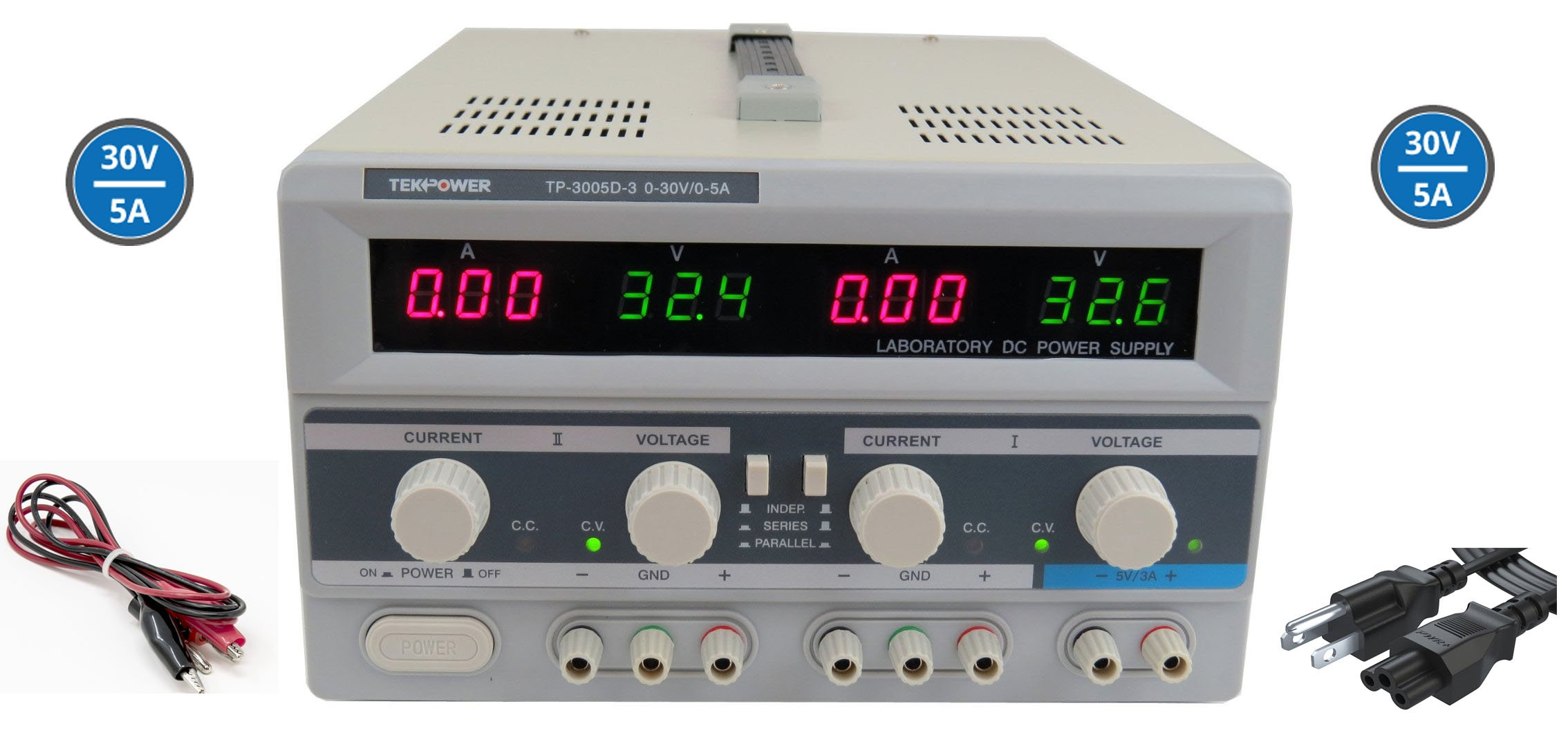 Tekpower TP3005D-3 Digital Variable Triple Outputs Linear-type DC Power Supply, 0-30 Volts @ 0-5 Amps