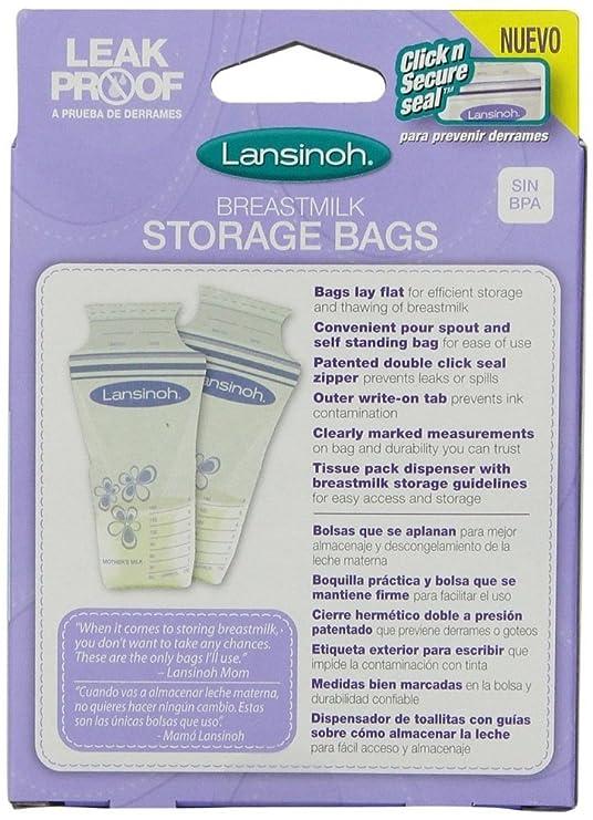 Lansinoh leche materna bolsas de almacenamiento, 25-Count (5 ...
