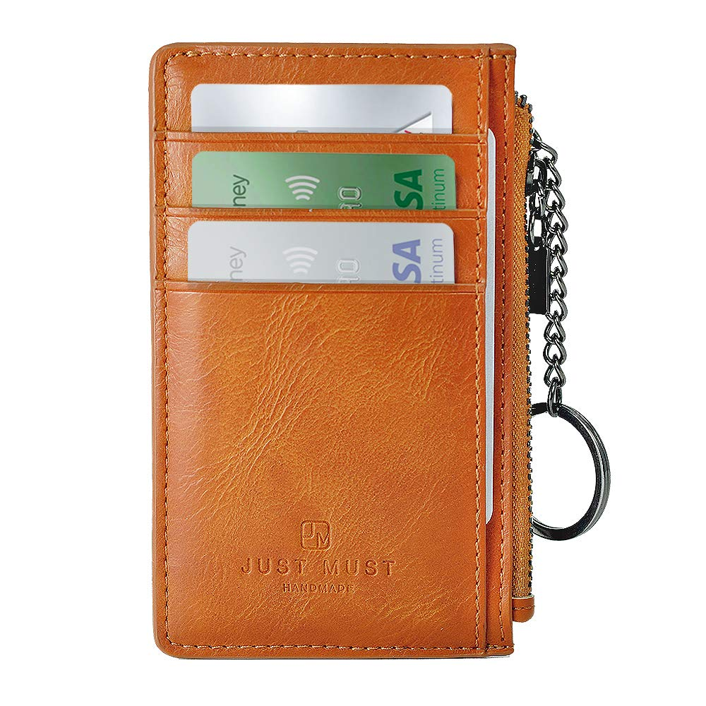 Slim Minimalist Wallet, Zipper Wallet, Front Pocket Credit Card Holder Leather Wallet with Key Ring JUST MUST
