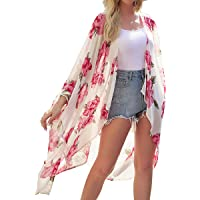 Kimono para Mujer - Cárdigan Largo Kimono, Floral Mujeres Kimono Dormir Bata Verano Satén Suave y Ligero