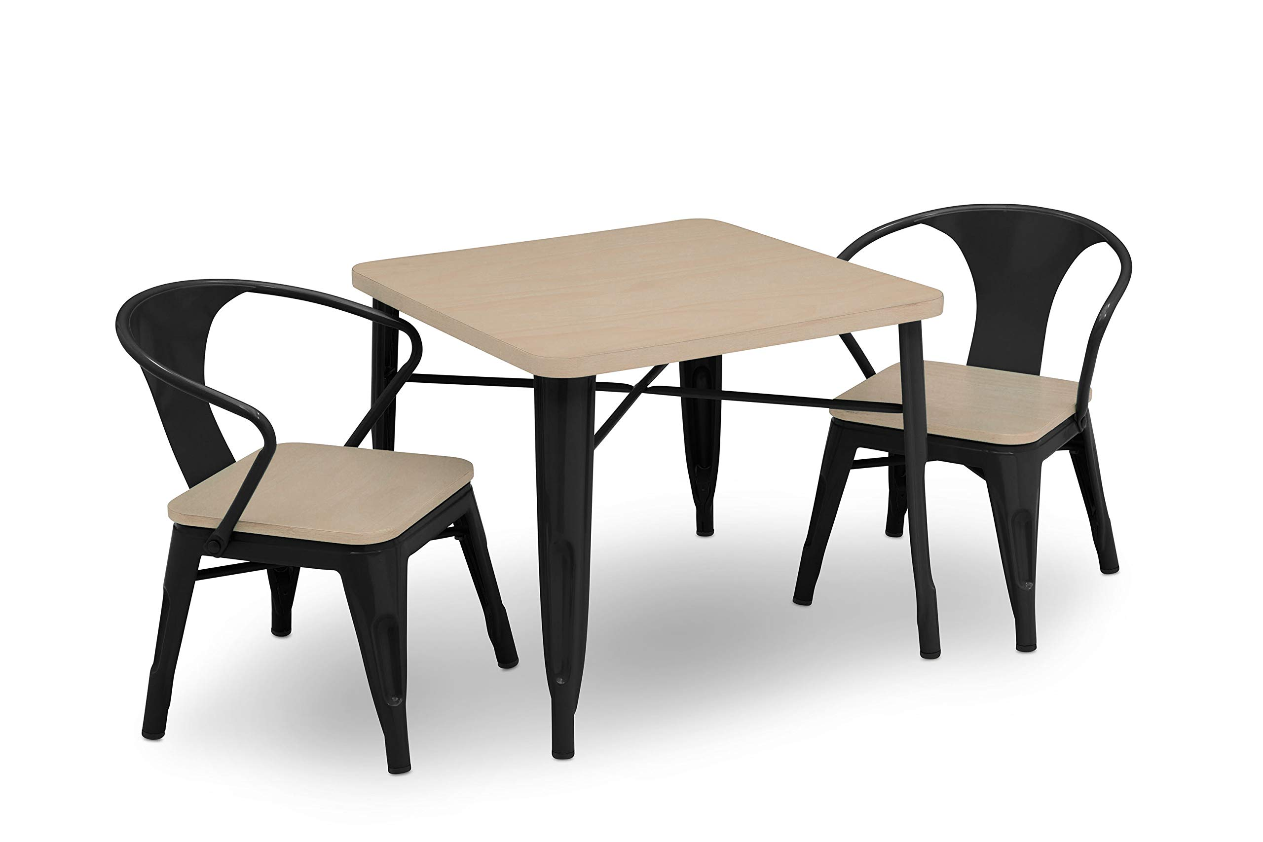 Delta Children Bistro Kids Play Table with 2-Piece Chair Set | Black with Driftwood