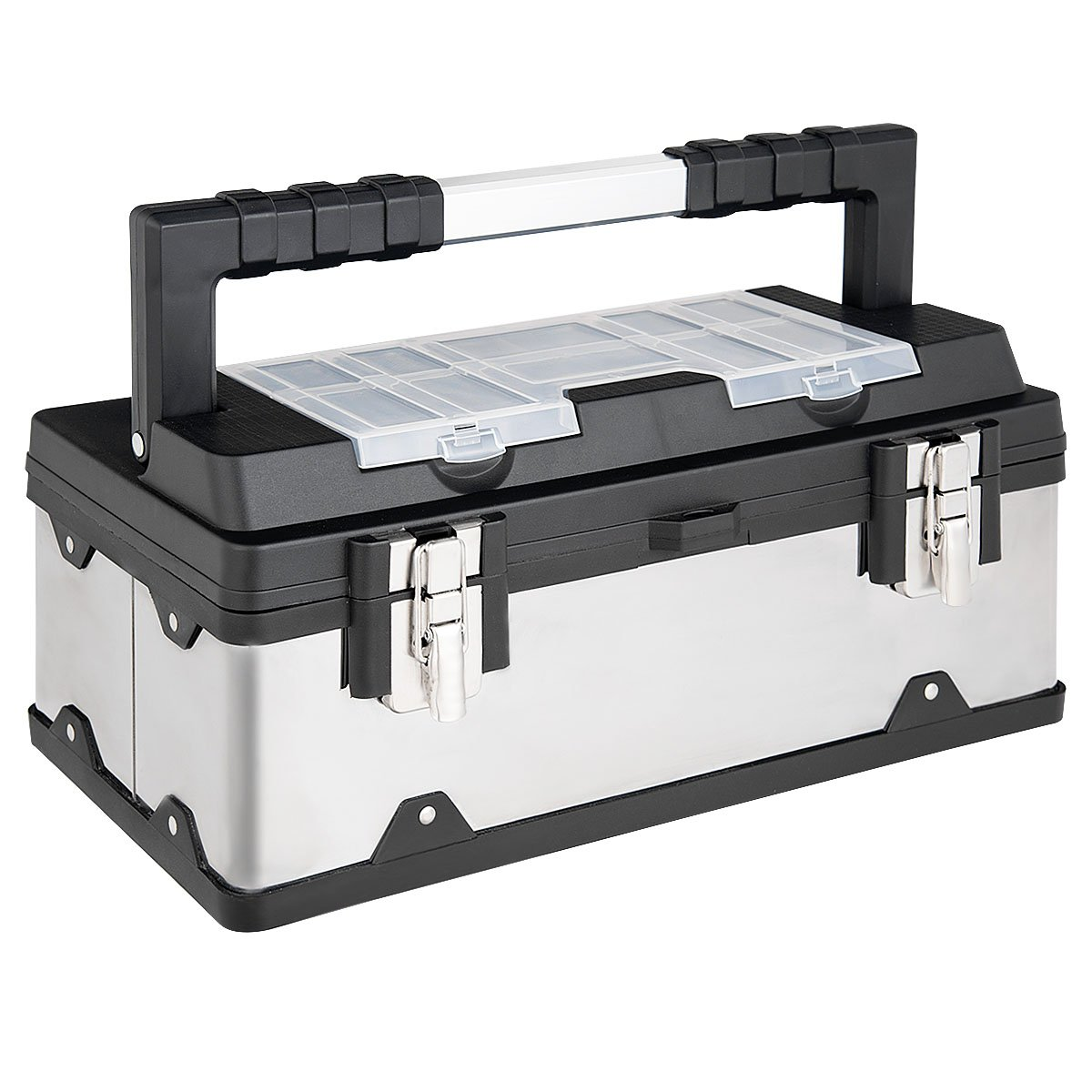 Goplus Portable Tool Box 19In Toolbox Lockable Cabinet Tool Storage Box Stainless Steel Organizer with Multiple Compartments, Handle Essential Tool Kit for Home Garage