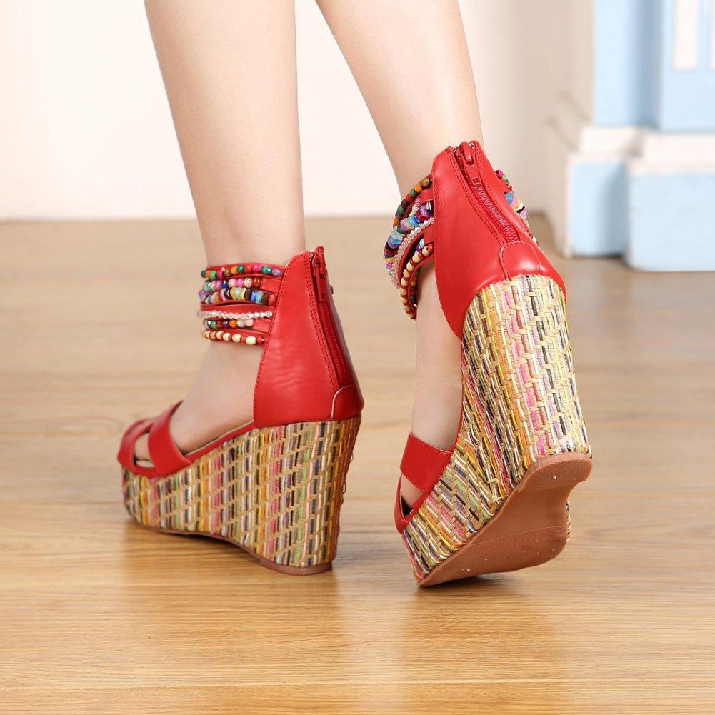 GetmorebeautyUpdate - Strap Strap Strap alla caviglia donnaRed d30903