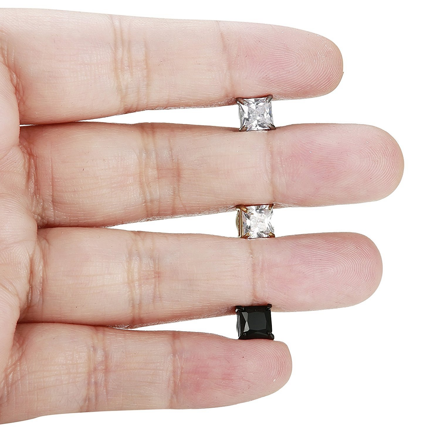 BESTEEL 3Paires Acier Inoxydable Boucles d/'Oreilles Magn/étique Homme Femme Carr/é Boucles d/'Oreilles Clip Non Piercing CZ 5-8MM