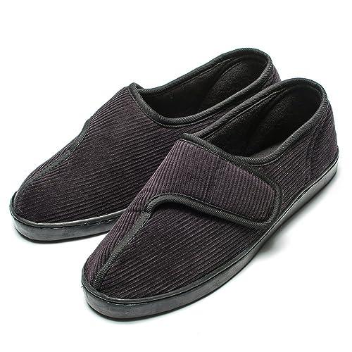 237edf711971b Git-up Diabetic Slippers Shoes for Men Arthritis Edema Adjustable Closure  Memory Foam House Shoes