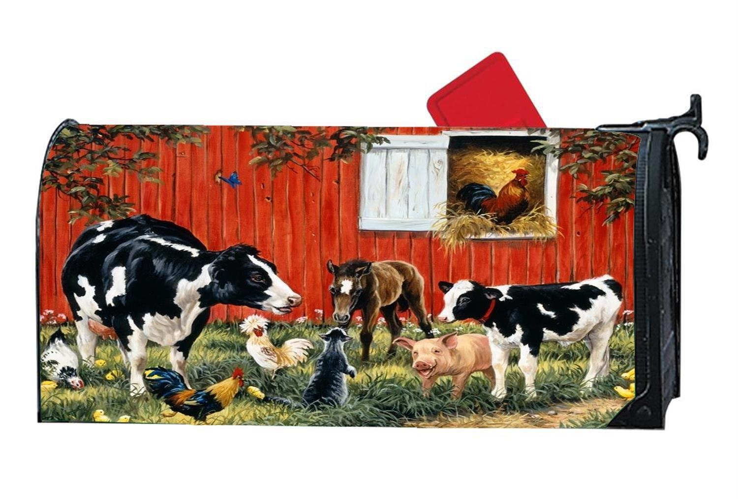 Farm Animals Cow Cock Customized Magnetic Mailbox Cover Home Garden Cute MailBox Wraps Vinyl with Full-surface Magnet On Back by CoolMailboxicoveriw