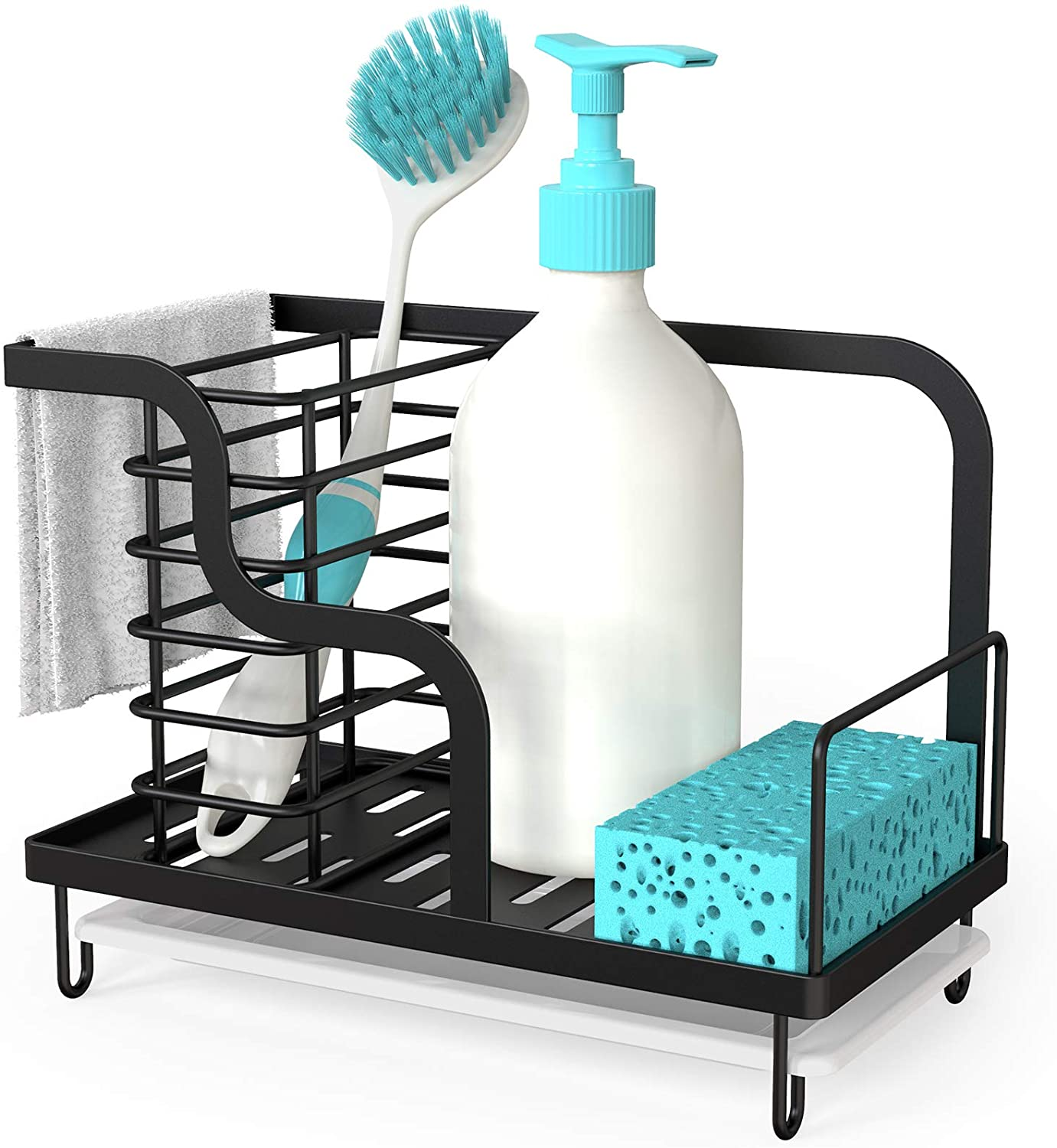 FavoThings Kitchen Sink Caddy Organizer with Drain Pan, Stainless Steel, for Sponges, Scrubbers, Soap, Kitchen, Bathroom