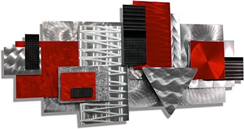 Statements2000 Silver Red Black Contemporary Metal Sculpture – Geometric Abstract Wall Art – Handmade Wall Accent – Red Focal Point by Jon Allen
