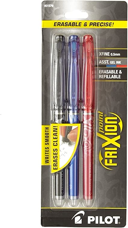 Amazon Com Pilot Frixion Extra Fine Point Erasable Gel Pens 3pkg Black Blue Red Arts Crafts Sewing